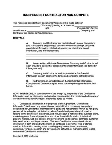 standard non compete agreement template sletemplatess