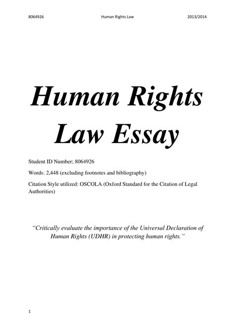 Universal Declaration Of Human Rights Essay human rights essay the universal declaration of human rights pdf available