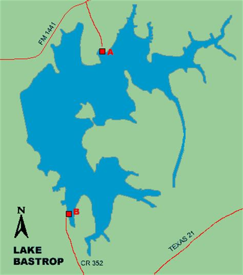texas bank fishing map access to lake bastrop
