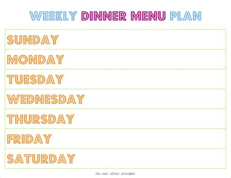 dinner menu templates excellent weekly menu templates pictures inspiration