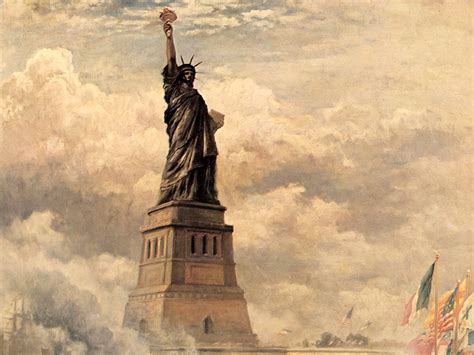 famous wallpapers edward moran statue of liberty enlightening the world