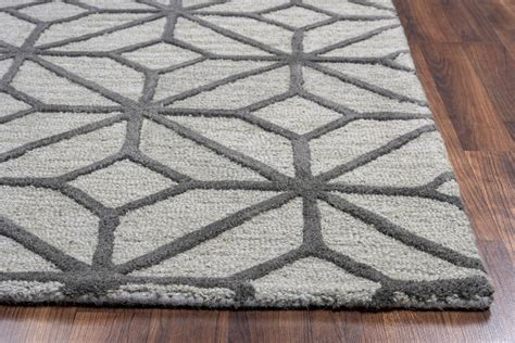 geometrical rugs luniccia geometric pattern wool rug in grey taupe 10 x 10