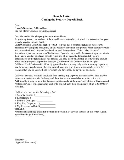 security deposit return letter best photos of letter security deposit form landlord