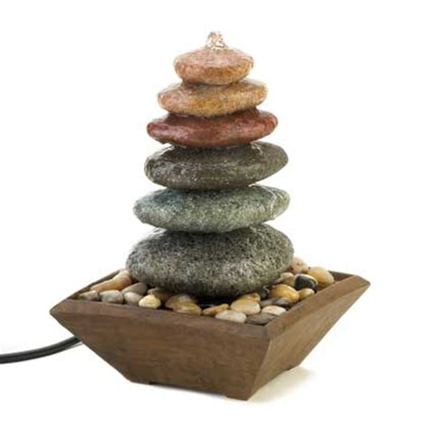 multicolor large stacked stone zen water fountain zen