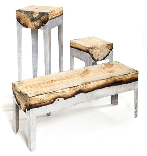 wood her bench designer hilla shamia fuses cast aluminum and tree trunks