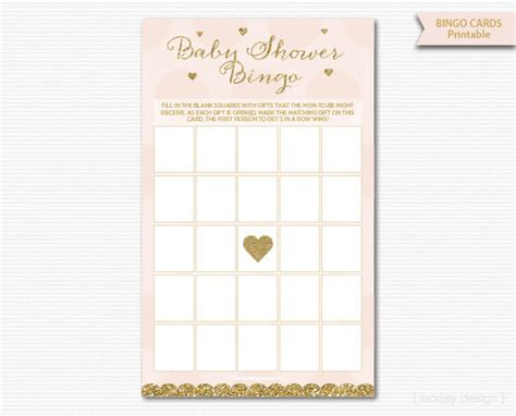 And Shower by Pink And Gold Baby Shower Bingo Cards Printable Baby