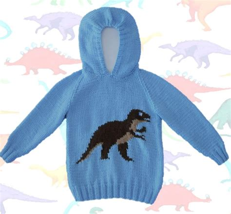 knitting pattern dinosaur jumper knitting pattern for dinosaur child s hoodie tyrannosaurus