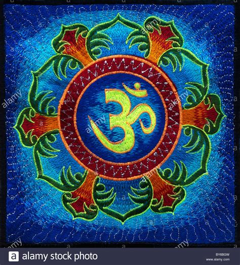 om lotus multicoloured hindu om aum and lotus flower embroidery