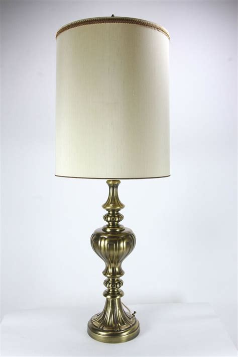 tall brass vintage electric table lamp  glass torchiere fabric shade ebay