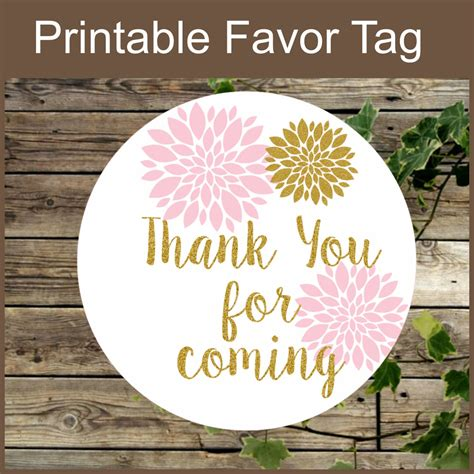 Pink And Gold Floral Favor Tag Instant Download Printable Label Thank You For Coming Blush And Thank You For Coming Tags Template