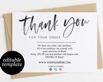 Thank You For Your Order Card Template by Modern Thank You Etsy