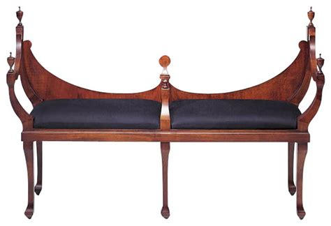 indoor settee benches crescent back settee in mahogany finish traditional indoor