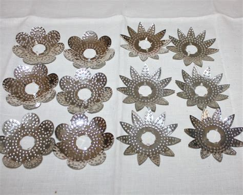 antique christmas light reflectors punched tin metal lot of 12