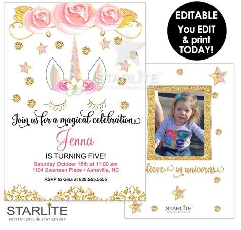 instant printable birthday invitations unicorn photo birthday invitation printable editable