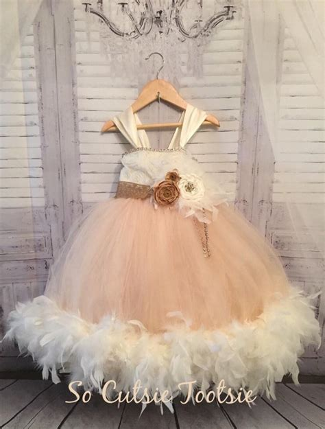 rustic feather flower girl dress ivory flower girl dress chagne flower girl dress shabby