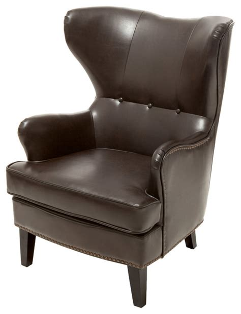 Brown Wingback Chair by Romford Bonded Leather Wingback Club Chair Brown