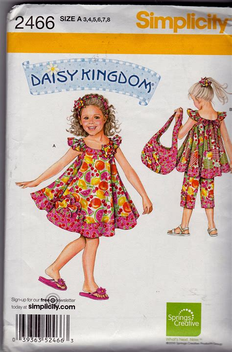 daisy kingdom pattern 3940 simplicity pattern 2466 daisy kingdom child sportswear sz 3 8