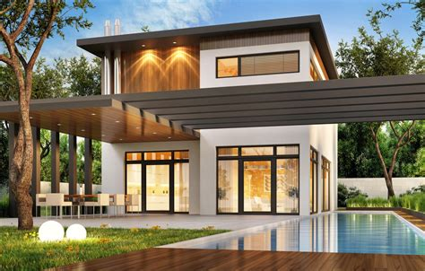 wallpaper trees design house lawn villa pool modern