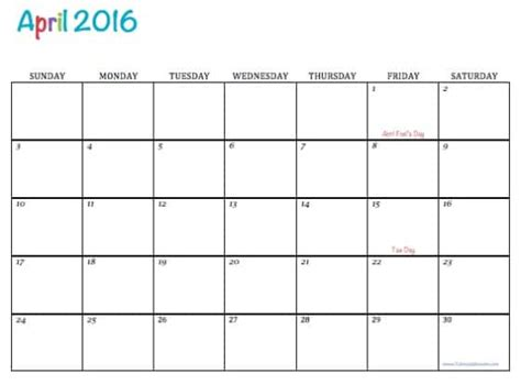 printable version of a 2016 calendar free printable calendar april 2016