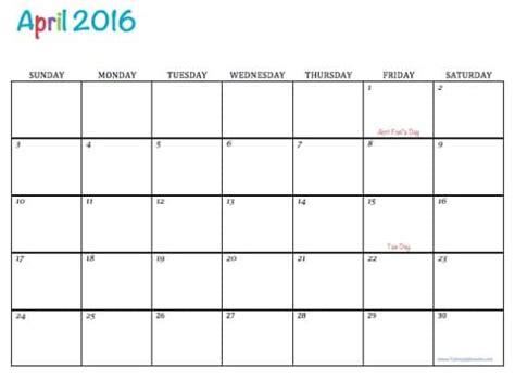 printable calendar 2016 april free printable 2016 calendars