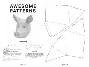 3d Mask Template by Pig Mask Diy Printable Animal Instant Pdf By