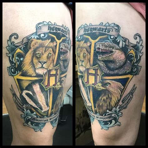 cool harry potter tattoos my new thigh harry potter hogwarts crest