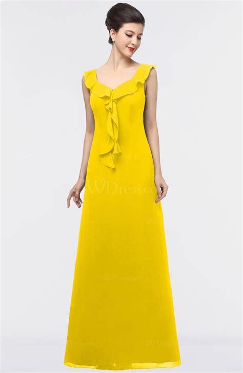 Square Flower Dress yellow a line square sleeveless floor length flower