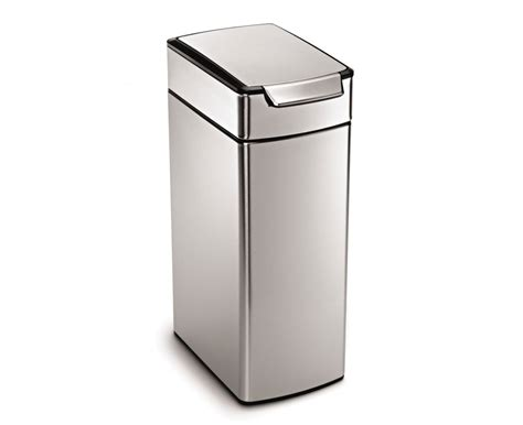 slim kitchen trash can simplehuman 40 litre slim touch bar bin fingerprint proof stainless steel