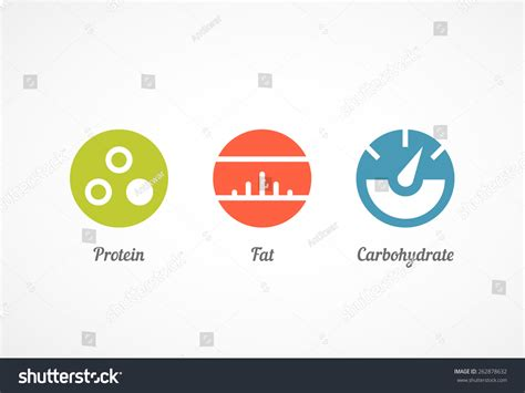 carbohydrates symbol protein carbohydrate icon set stock vector 262878632