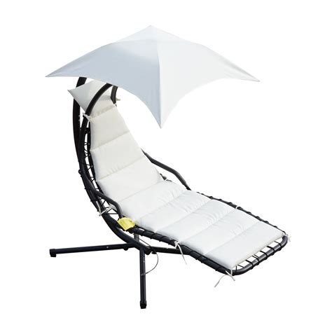 Hanging Canopy Chair by Outsunny Outdoor Hanging Chaise Lounger Chair W Canopy