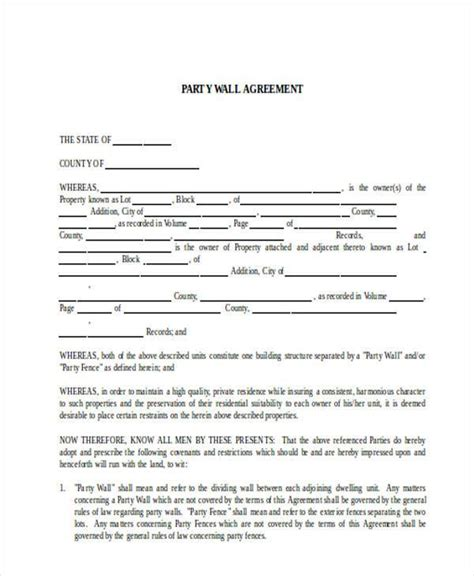 Wall Agreement Letter Uk 8 Wall Agreement Form Sles Free Sle Exle Format