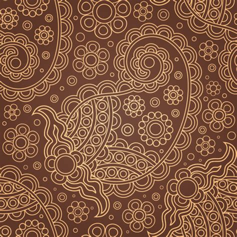 brown pattern free set of brown paisley patterns vector material 01 over