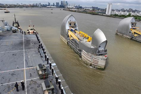 thames barrier opening warships in london for battle of atlantic commemorations