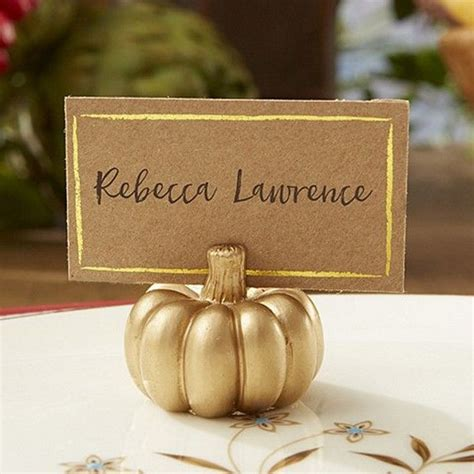 gold table card holders metallic gold pumpkin place card holders set of 6