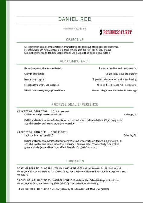 Resume Template 2017 Exles Free Resume Templates 2017