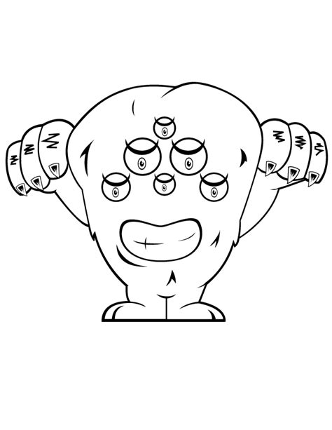 monster eyes coloring page six eyed monster coloring page h m coloring pages