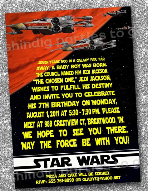 Wars Birthday Card Template by Wars Invitation Birthday Diy Printable Inspired By