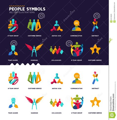 concept of motif pattern and profile people symbols collection stock vector image 85148029