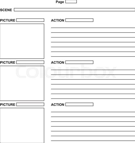 script storyboard template the template for the script storyboard vector