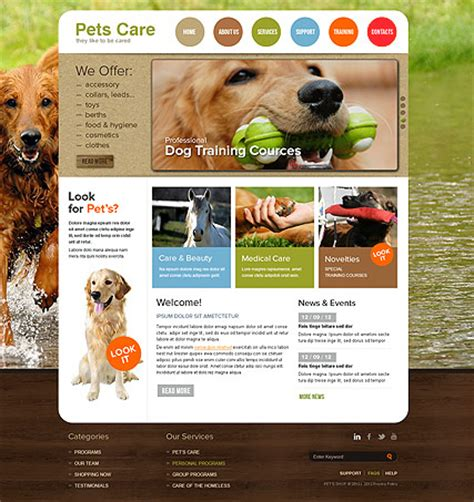 pet templates pet care html template id 300111533 from simavera
