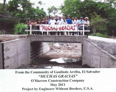 engineers  borders bridge project completed  gualindo arriba el salvador oharrow