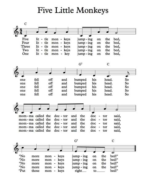the bed song free lead sheet five little monkeys michael kravchuk