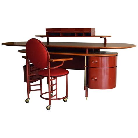 Frank Desk johnson wax 1 desk and 2 chair by frank lloyd wright