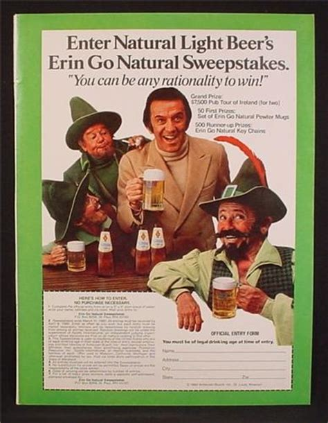 Sweepstakes For Men - magazine ad for natural light beer sweepstakes men dressed as leprechauns 1980