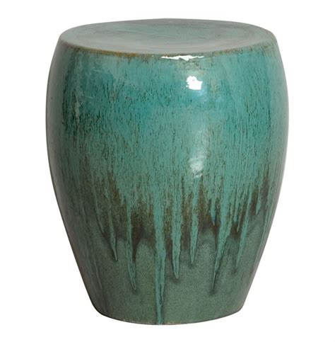 Garden Stool by Teal Green Coastal Simple Ceramic Garden Seat