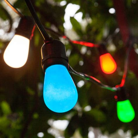 commercial patio string lights multicolor s14 opaque bulbs yard envy