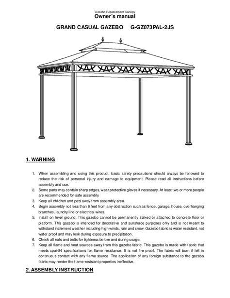 Gazebo Installation Sunjoy Grand Casual Gazebo Assembly And Manual
