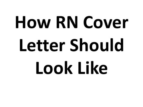 What Should An Email Cover Letter Look Like how rn cover letter should look like