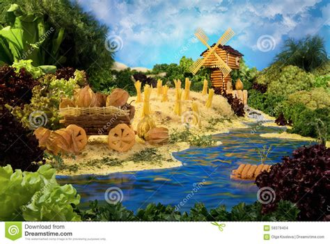 Landscape Photos Made From Food Landscape With Windmill Made From Food Stock Photo Image