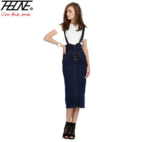 Suspender Denim Skirt 2016 denim suspender skirt for elastic slim